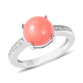 Living Coral (Rnd), Natural White Cambodian Zircon Ring in Rhodium Overlay Sterling Silver