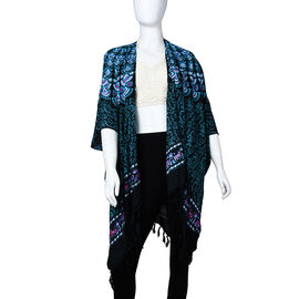 TAMSY 100% Rayon Floral Printed Kimono, One Size ( Fits 8-20 ) - Turquoise & Multi