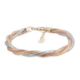 Royal Bai Collection Italian Made 9K Tricolour Gold Bracelet (Size - 7.5 with 1 inch Extender)