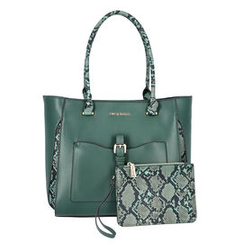LOCK SOUL Snake Pattern Handbag with Detachable Shoulder Strap (38x16x30cm) - Dark Green