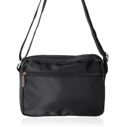 Annabelle Water Resistant  Black Cross Body Bag with External Zipper Pockets (Size 22x17x7 Cm)