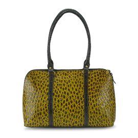 100% Genuine Leather Shoulder Bag (Size 38x22.89x9 Cm) - Olive and Lime