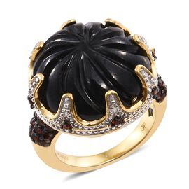GP Boi Ploi Black Spinel (Rnd), Mozambique Garnet and Kanchanaburi Blue Sapphire Ring in 14K Gold Overlay Sterling Silver 30.500 Ct. Silver wt 6.50 Gms.