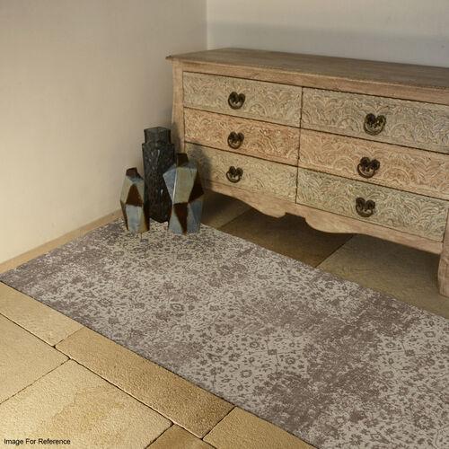 Premium Jacquard Woven Cotton Chenille Antique finish Area Carpet Beige 80x240 cm