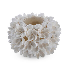 (Option - 1) Bali Collection - White Seashell Candle Holder with Frangipani Flower Pattern (Size 10x