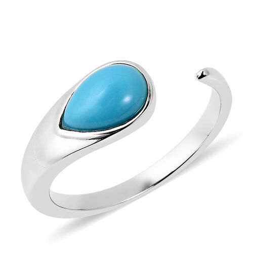 LucyQ Arizona Sleeping Beauty Turquoise Open Drop Ring in Rhodium Plated Silver