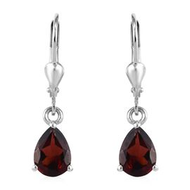 Mozambique Garnet (Pear) Earrings (with Lever Back) in Platinum Overlay Sterling Silver 2.500 Ct.
