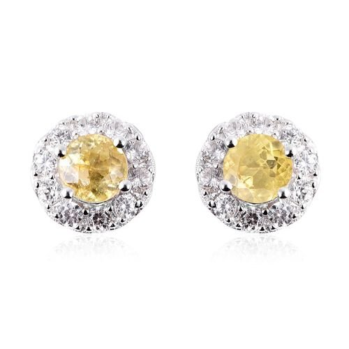 1.91 Ct Sava Sphene and Zircon Stud Halo Earrings in Rhodium Plated Sterling Silver