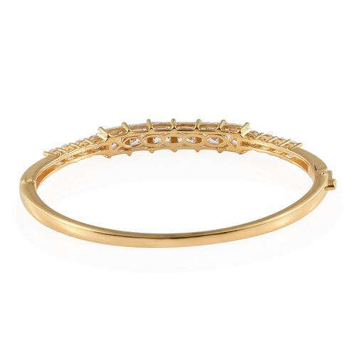 J Francis 14K Gold Overlay Sterling Silver Bangle (Rnd and Sqr) (Size 7.5) Made with SWAROVSKI ZIRCONIA.Silver Wt 18.50 Gms