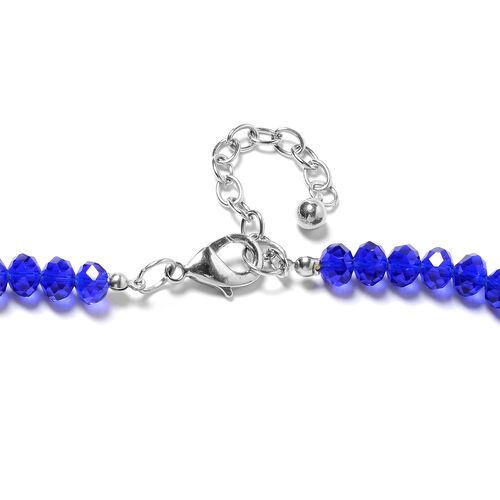 Blue Colour Murano Style Glass (Rnd), Simulated Blue Sapphire, Lapis Lazuli, Simulated Grey Spinel Beads Necklace (Size 28 and 2.5 inch Extender)