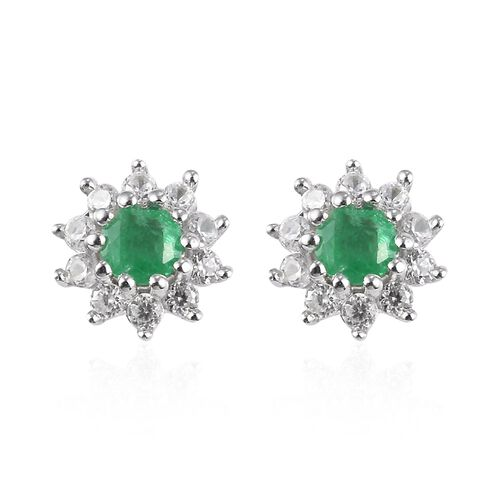 Premium Emerald and Natural Cambodian Zircon Stud Earrings (with Push Back) in Platinum Overlay Ster