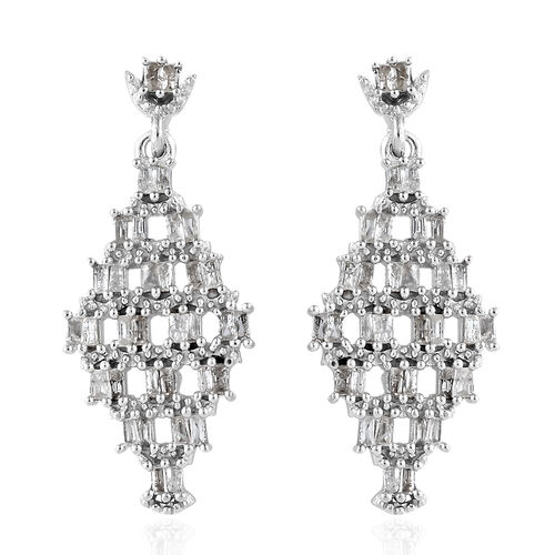 GP Diamond (Bgt), Kanchnaburi Blue Sapphire Earrings (With Push Back) in Platinum Overlay Sterling Silver 1.040 Ct.