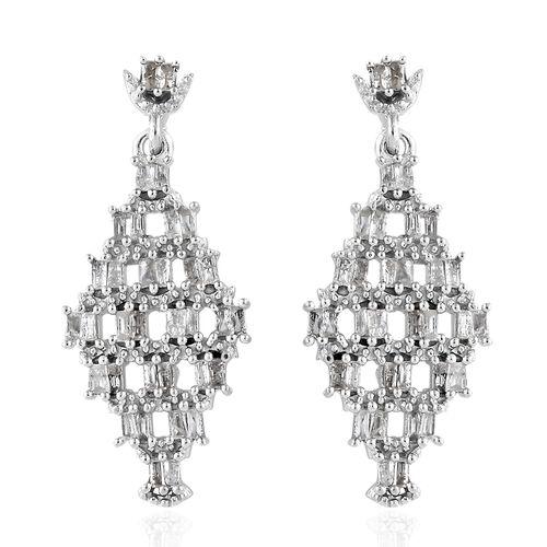 GP 1.04 Ct Kanchanaburi Blue Sapphire and Diamond Drop Earrings in Sterling Silver 4.69 Grams