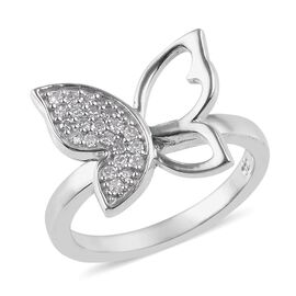0.20 Ct Diamond Butterfly Ring in Platinum Plated Sterling Silver