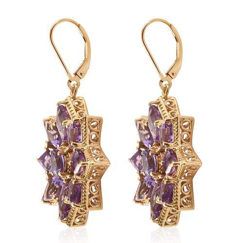 Rose De France Amethyst (KITE) Floral Lever Back Earrings in 14K Gold Overlay Sterling Silver 12.750 Ct. Silver wt. 10.67 Gms.