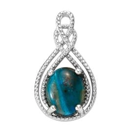 Natural Peruvian Peacock Opalina (Ovl 10x8 mm) Pendant in Platinum Overlay Sterling Silver 2.250 Ct.