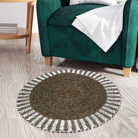 Bali Collection - 100% Handmade Woven Seagrass Rug (Size:100x1x100Cm) - White and Light Brown