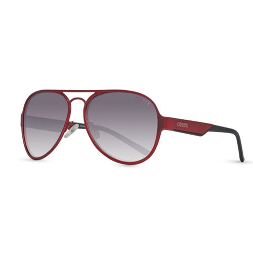 RED METAL AVIATOR WITH GREY LENSES AND GUESS WRITING ON TEMPLES