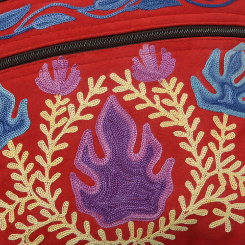 Hand Embroidered Red and Multi Colour Floral and Leaves Pattern Sling Bag