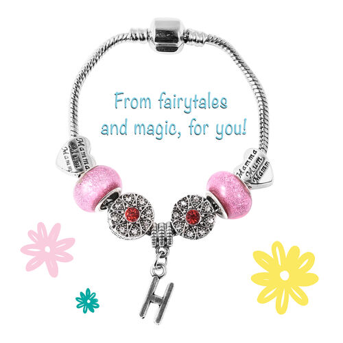 H Initial Charm Bracelet for Children in Simulated Pink Colour Bead, Red and White Austrian Crystal Size 6.5 Inch in Silver Tone