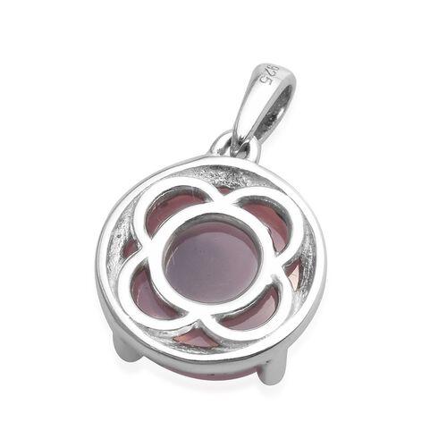 Rose Quartz Pendant in Platinum Overlay Sterling Silver 4.80 Ct.
