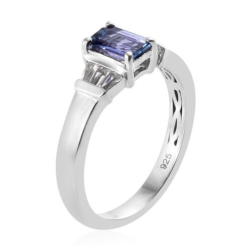 Tanzanite (Oct), White Topaz Ring in Platinum Overlay Sterling Silver 0.750 Ct.
