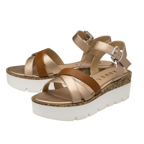 Ravel Monto Flatform Sandals (Size 3) - Rose Gold and Tan