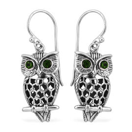 Royal Bali Collection Russian Diopside (Rnd) Owl Hook Earrings in Sterling Silver, Silver wt 6.40 Gms.