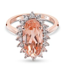 Morganite Quartz and Natural Cambodian Zircon Ring in Rose Gold Overlay Sterling Silver 4.78 Ct.