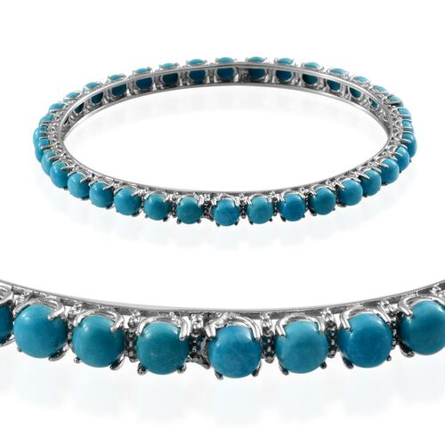 Arizona Sleeping Beauty Turquoise (Rnd) Bangle in Platinum Overlay Sterling Silver (Size 7.5) 9.750 Ct.