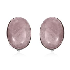 Rose Quartz (Ovl 18-13 mm) Clip On Earrings in Stainless Steel