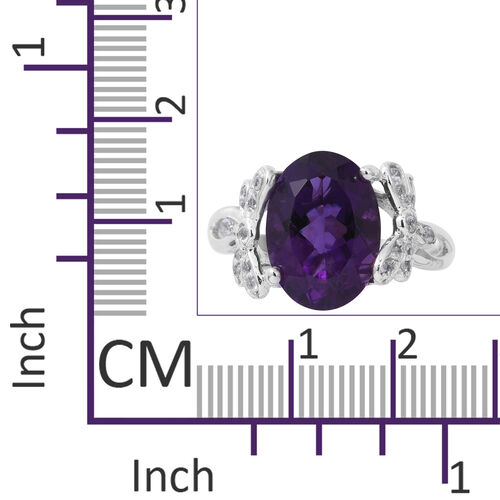 Designer Inspired-Lusaka Amethyst (Ovl 5.43 Ct), Natural White Cambodian Zircon Ring in Rhodium Plated Sterling Silver 5.760 Ct.