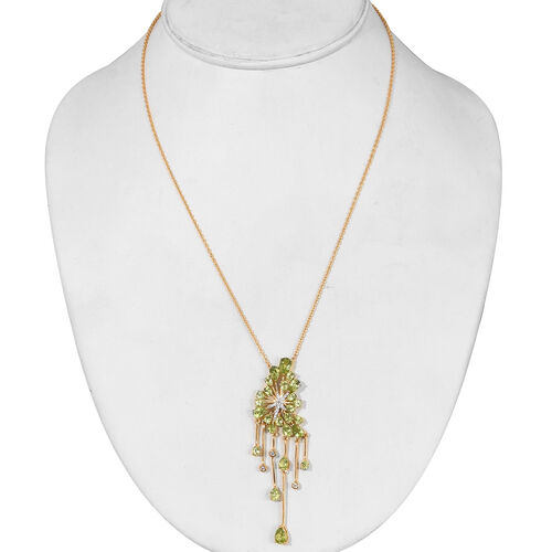 Hebei Peridot and Natural Cambodian Zircon Necklace (Size 18) in 14K Gold Overlay Sterling Silver 7.50 Ct, Silver wt 8.00 Gms