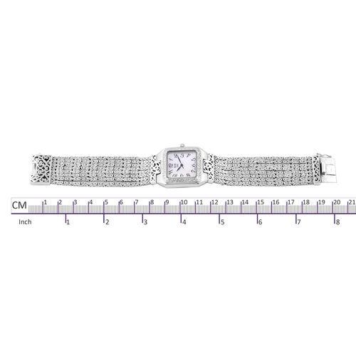 Royal Bali Collection EON 1962 Swiss Movement Sterling Silver MOP Tulang Naga Bracelet Watch (Size 7.5), Metal wt 93 Gms.