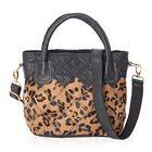100% Genuine Leather Leopard Pattern Tote Bag with Detachable Shoulder Strap (Size 24x16x22 Cm) - Bl