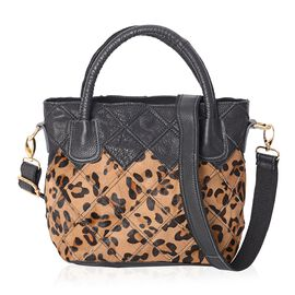 100% Genuine Leather Leopard Pattern Tote Bag with Detachable Shoulder Strap (Size 24x16x22 Cm) - Bl
