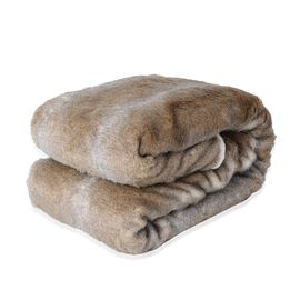 Faux Fur Reversible Sherpa Blanket (Size 150x200 cm) Colour Grey and Brown