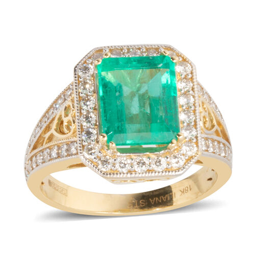 ILIANA 18K Yellow Gold AAAA Boyaca Colombian Emerald, Diamond (SI-G-H) Ring 3.390 Ct., Gold wt 5.81 Gms.