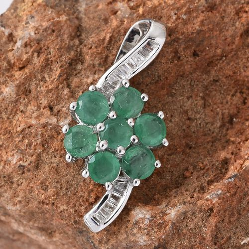 Mega Day Deal-9K White Gold Kagem Zambian Emerald (Rnd), Diamond Flower Pendant 1.250 Ct.Gold Wt 1.60 Gms