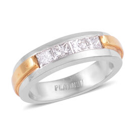 Signature Collection 0.70 Ct Diamond Band Ring in 950 Platinum and 18K Gold SGL Certified VS EF