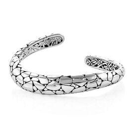 Royal Bali Crocodile Skin Texture Cuff Bangle in Silver 39.00 Grams 7.5 Inch