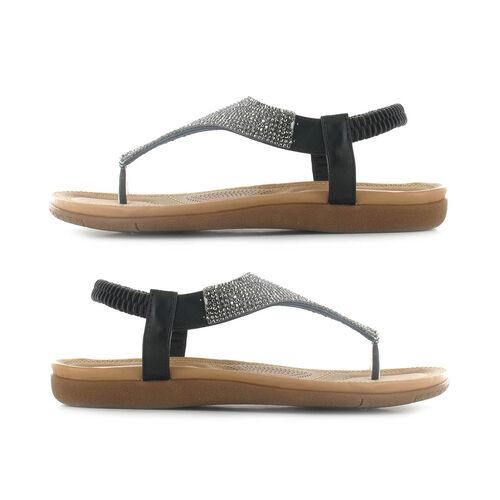 OLLY Samba Toe Post Comfort Sandal (Size 6) - Black