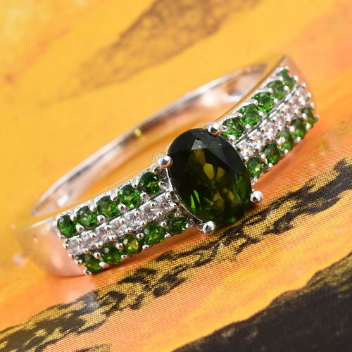 Russian Diopside (Ovl 1.15 Ct), Natural Cambodian Zircon Ring in Platinum Overlay Sterling Silver 1.250 Ct.