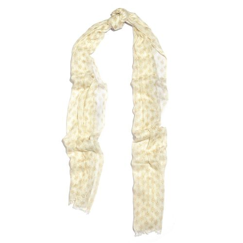 Designer Inspired-Beige and White Colour Ikat Pattern Scarf (Size 180x70 Cm)