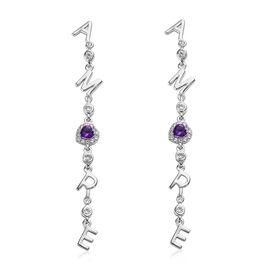 GP 1.25 Ct Amethyst and Multi Gemstone Dangle Earrings in Platinum Plated Silver 5.58 Grams