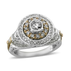14K Yellow and White Gold Diamond (Rnd and Bgt) (I1-I2/G-H) Ring  1.010 Ct., Gold Wt. 6.50 Gms. Size