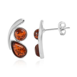 Baltic Amber Earrings (With Push Back) in Sterling Silver - Multi Colour