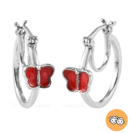 Butterfly Hoop Earrings for Kids in Sterling Silver
