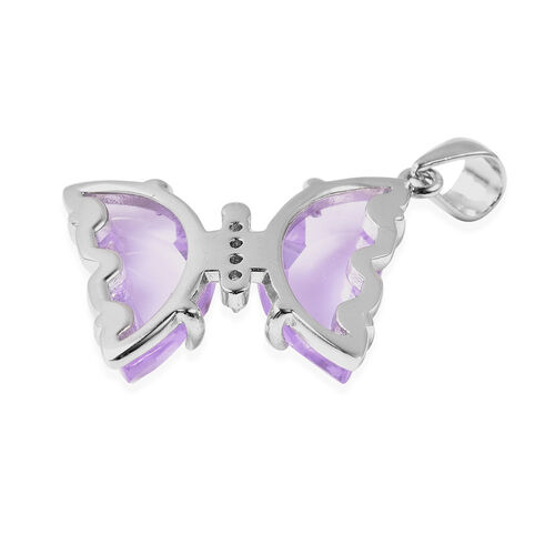 Simulated Amethyst and Simulated Diamond Butterfly Pendant in Rhodium Overlay Sterling Silver
