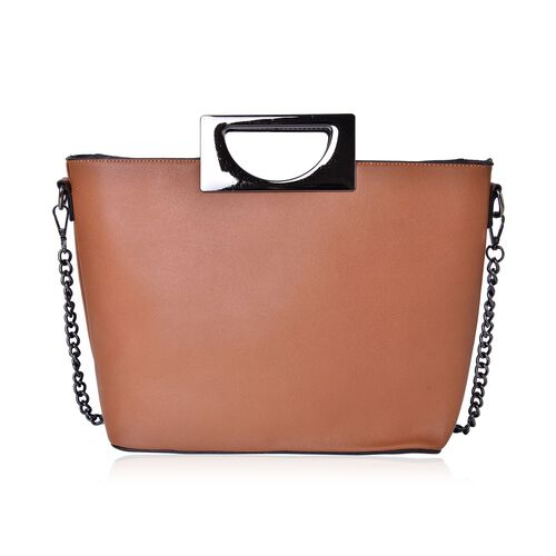 Classice Tan Colour Tote Bag with Metallic Handles and Removable Chain Strap (Size 37X30X23X13 Cm)